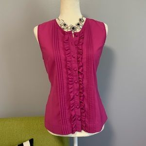 Banana Republic Mauve Sleeveless Ruffle Top C9
